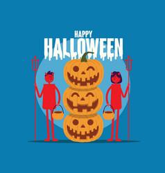 happy halloween pumpkin with red devil cartoon vector image