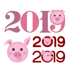 Happy new year 2019 banner with pork heads vector