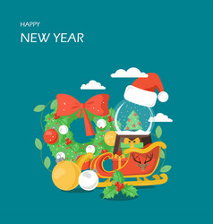 happy new year flat style design vector image
