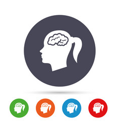 Head with brain sign icon female woman head vector