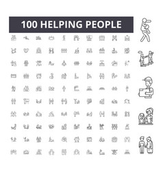 helping people line icons signs set vector image