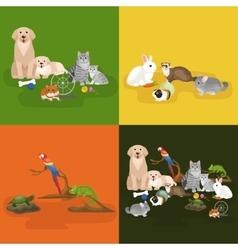 Home pets set cat dog parrot goldfish hamster vector image