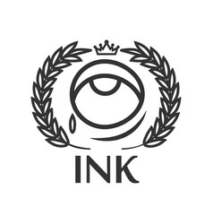 Ink tattoo salon label with eye small tear king vector