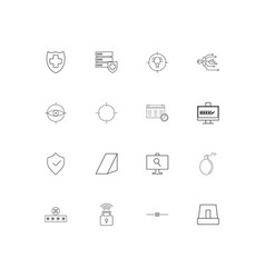 internet security simple linear icons set vector image