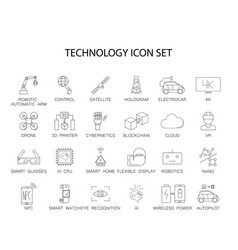 line icons set technology pack vector image