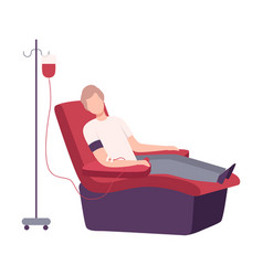 Male donor giving blood in medical hospital man vector