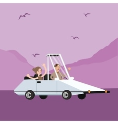 Man woman couple riding funny weird shaped car vector