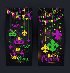 Mardi gras colored vertical banners set with a vector