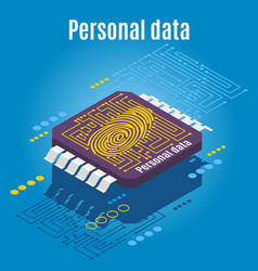 microchip biometrics isometric background vector image