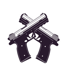 Modern pistols two crossed handguns vector