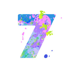 Number 7 with effect liquid spots paint vector