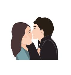 passionate young kissing couple vector image