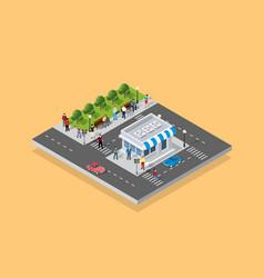 people walking around city vector image