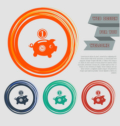 piggy bank and dollar coin icon on the red blue vector image
