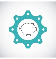 Piggy icon Gear design graphic vector