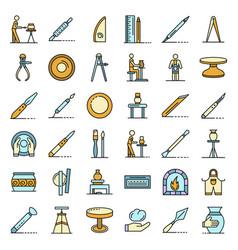 Potters wheel icons set line color vector