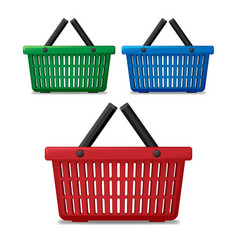 realistic red blue and green empty supermarket vector image