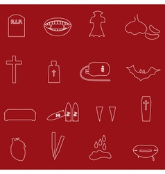 Red and white outline vampire icons eps10 vector
