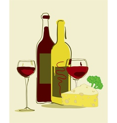 red wine and cheese vector image