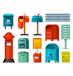 retro and modern mailboxes set blue street boxes vector image