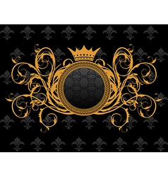 retro frame with heraldic crown vector image
