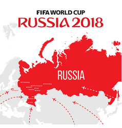 Russia world cup 2018 with map and vector