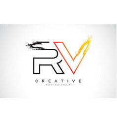Rv creative modern logo design with orange and vector