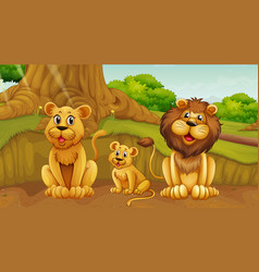 Scene with lion family in park vector