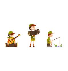 scouting boys set boy scouts wearing khaki vector image