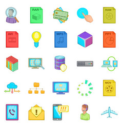Server icons set cartoon style vector
