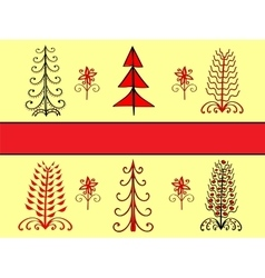 Set Christmas tree ornament ethnic vector