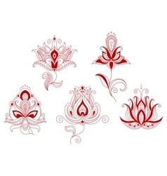 Set of abstract flowers in persian and indian vector image