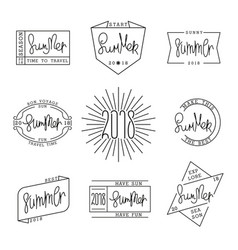Set of summer labels design linear style vector