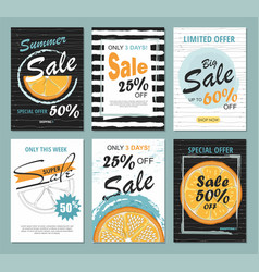 set summer sale templates with orange vector image
