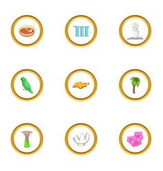 singapore icons set cartoon style vector image