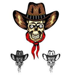 Skull cowboy color vector
