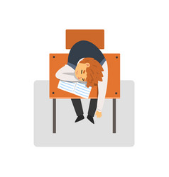 Student sitting and sleeping at desk in classroom vector