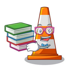 Student with book on traffic cone against mascot vector
