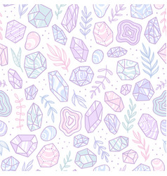 Stylish doodle gem crystals vector