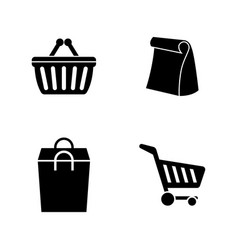 supermarket bag simple related icons vector image