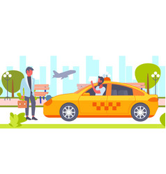 Taxi driver with placard meeting businessman vector