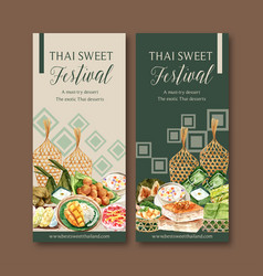 Thai sweet flyer design with sticky rice mango vector