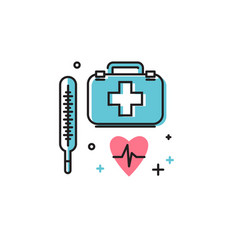 the thermometer and doctors bag vector image