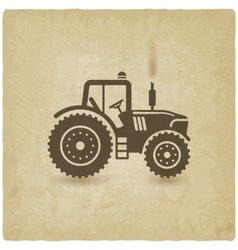 Tractor silhouette old background vector