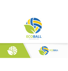 volleyball and leaf logo combination play vector image