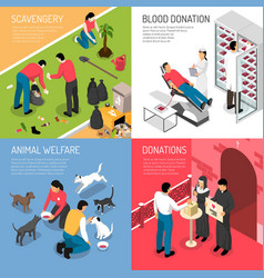 Volunteering isometric concept vector