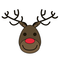 White background with face of reindeer with red vector