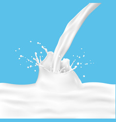 white milk splash with pouring milk on blue vector image