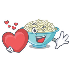 With heart rice bowl mascot cartoon vector