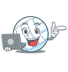 with laptop volley ball character cartoon vector image